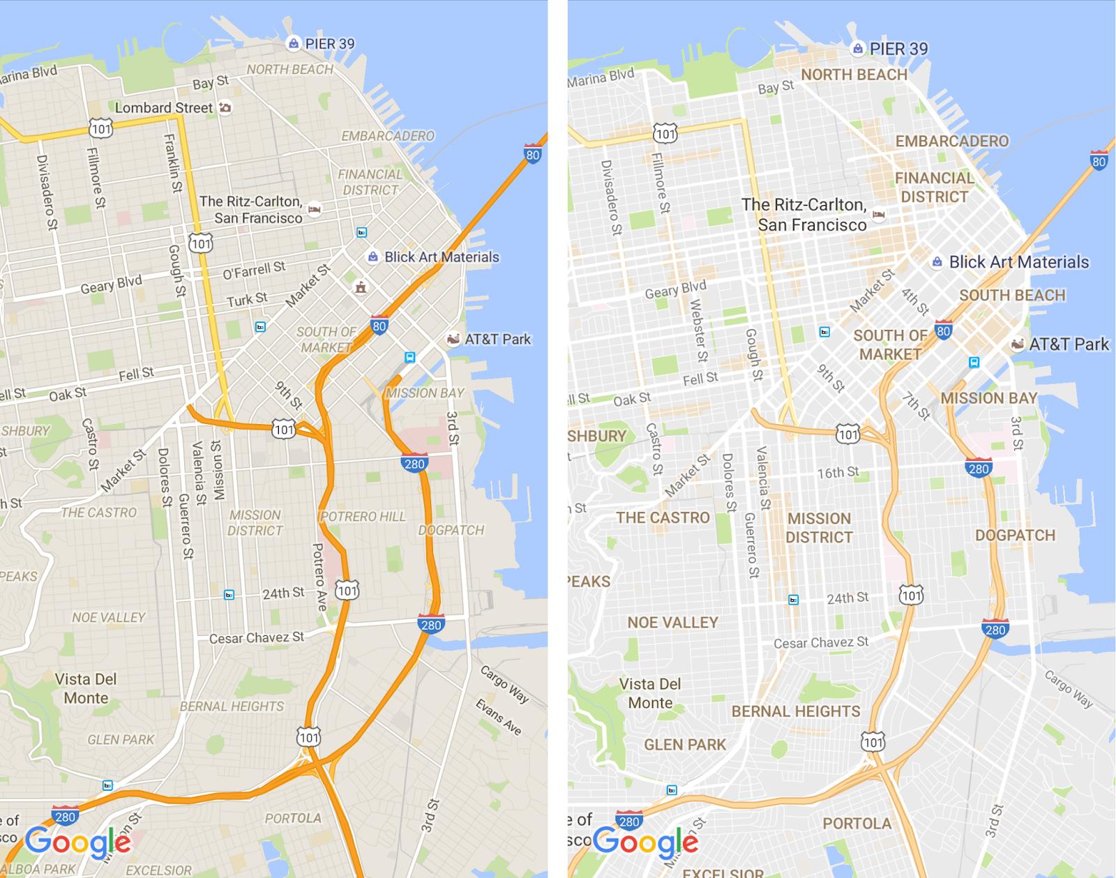 La vieja versión de Google Maps (izquierda) y la nueva (derecha)
