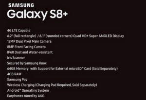 Samsung Galaxy S8+ especificacions