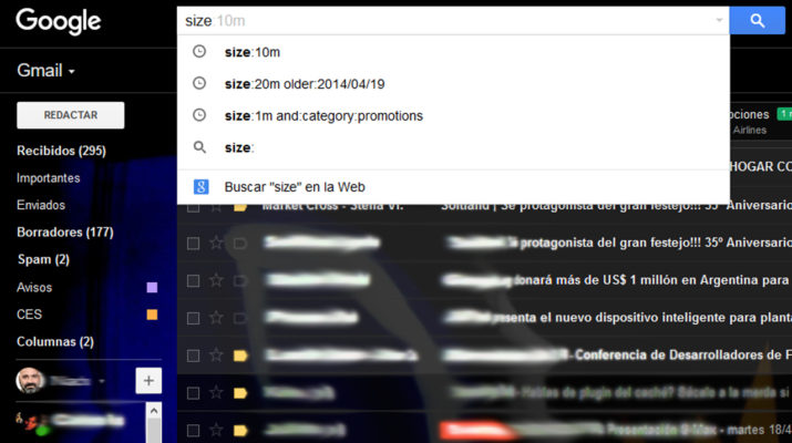Liberar espacio Gmail