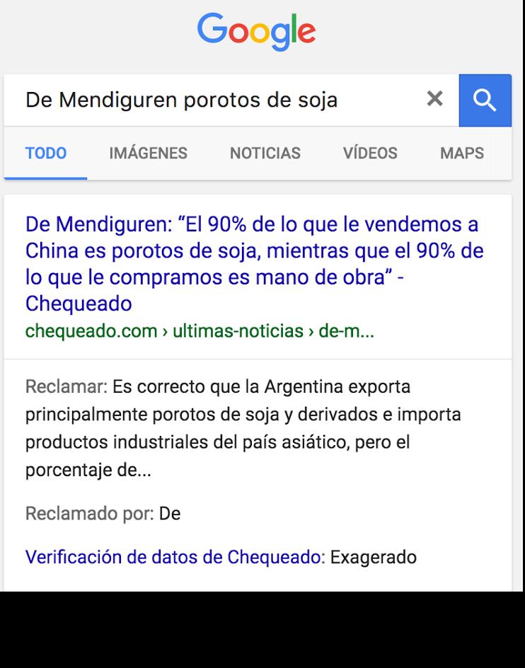 Noticia falsa Google Chequeado