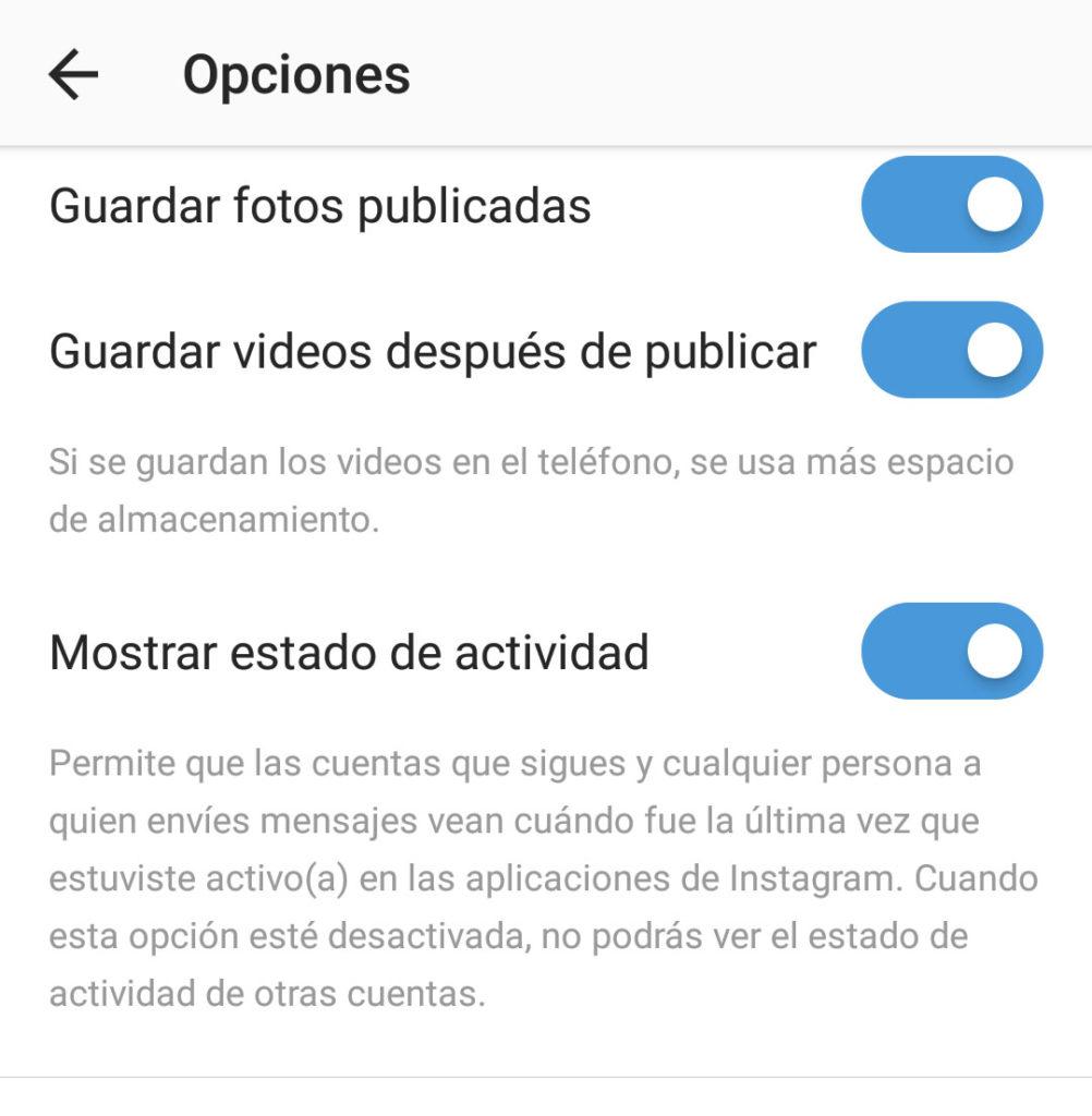 Desactivar ultima conexion Instagram