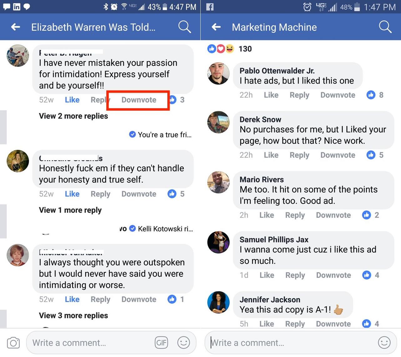 Voto negativo Facebook