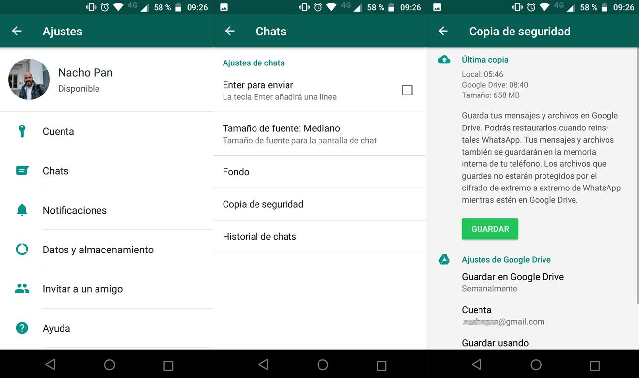 copia de seguridad whatsapp en google drive