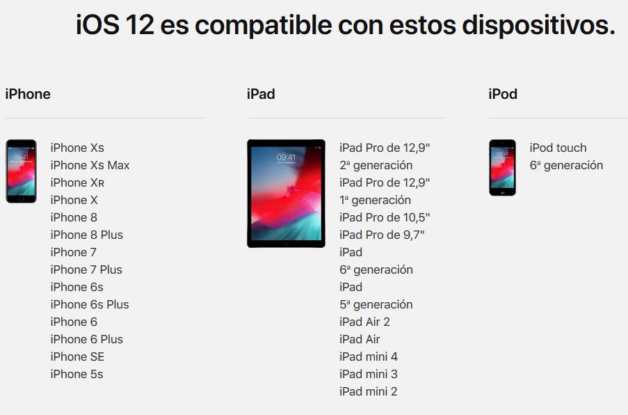 Dispositivos compatibles ios 12