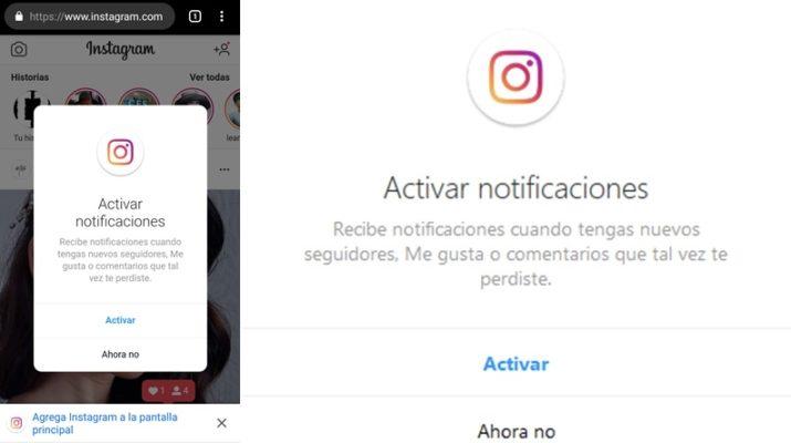 Notificaciones Instagram web