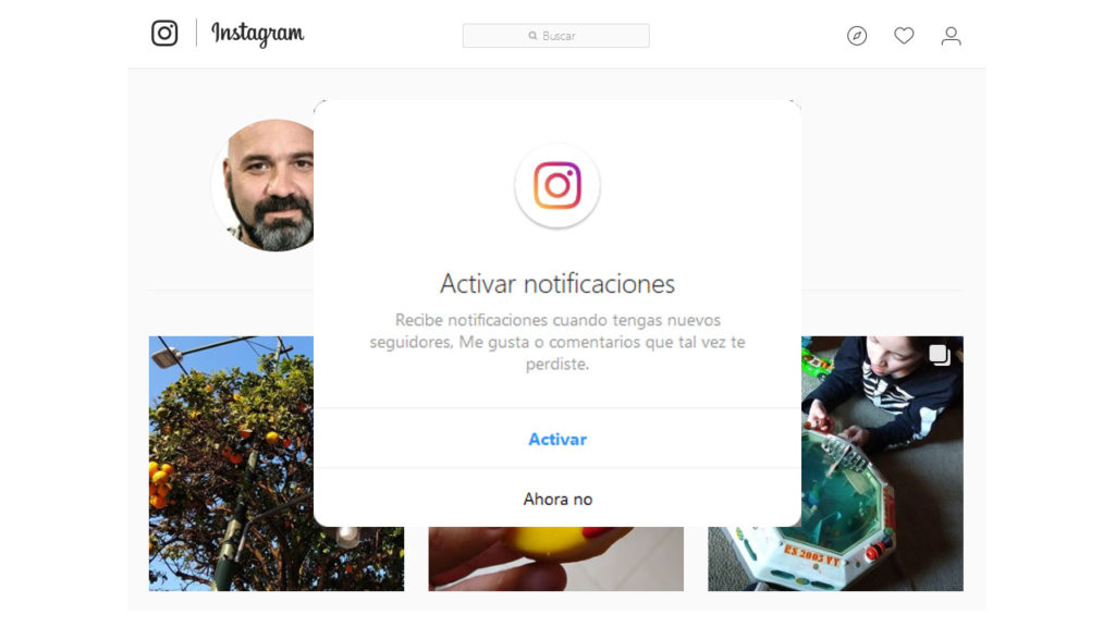 Notificaciones Instagram web