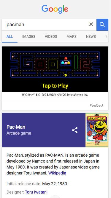 Pac Man Google