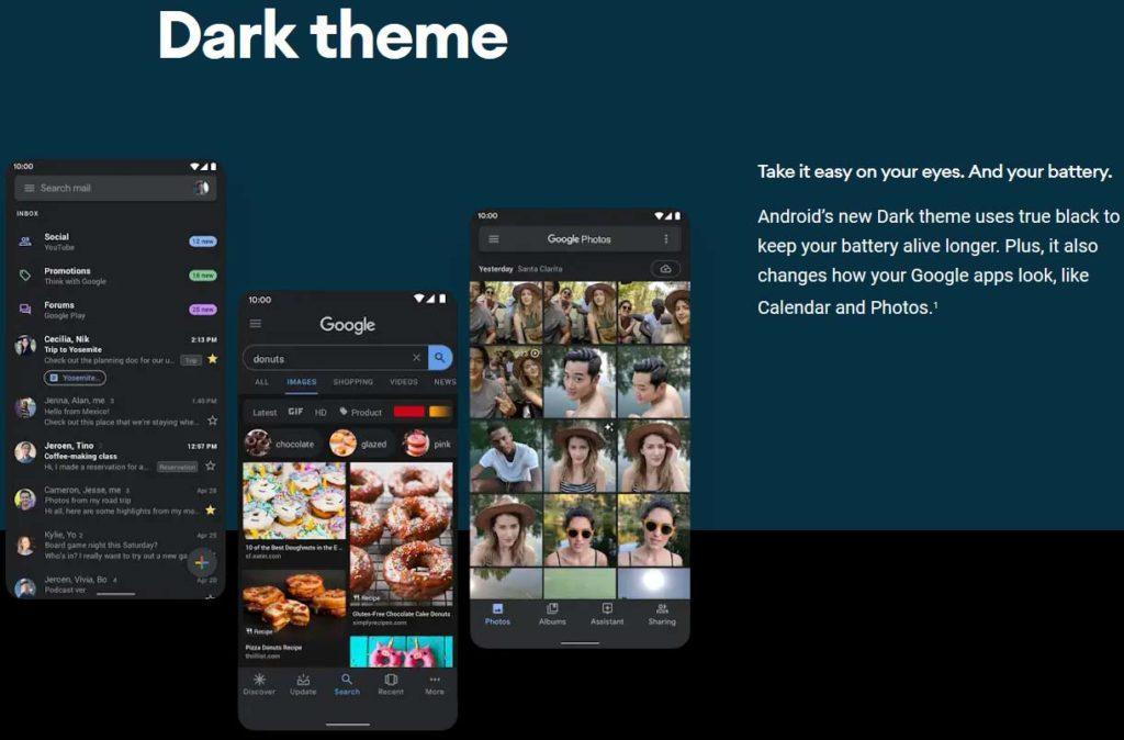 Modo oscuro Android 10
