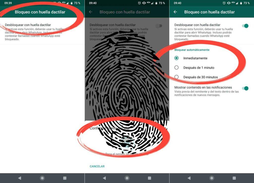WhatsApp bloqueo huellas Android