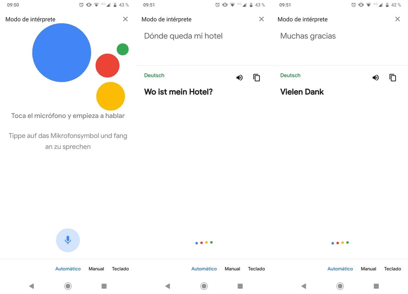Traductor idiomas Asistente de Google